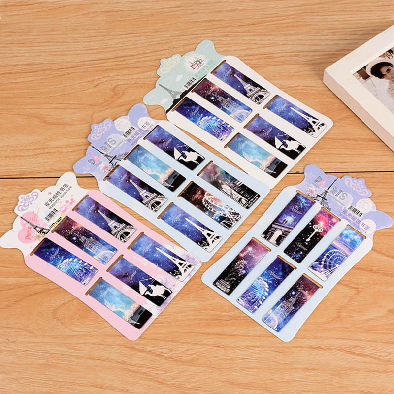 6 pcs/lot Vintage Eiffel Tower Paper Bookmark Creative Magnetic Book Marks Korean Stationery Student 2444 effiel tower magnetic bookmark paris tower magnetic bookmarks for books magnetic clips page marker