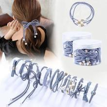 12Pcs/Set High Elastic Hair Bands Solid Pearl Stretch Hair Ties For Women Girls Ponytail Holder Hair Ropes Hair Accessories(China)