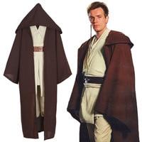 New Star Wars Jedi Knight Anakin Skywalker Uniform Cosplay Costume Obi Wan Kenobi Halloween Hooded Cloak Robe for Women Men