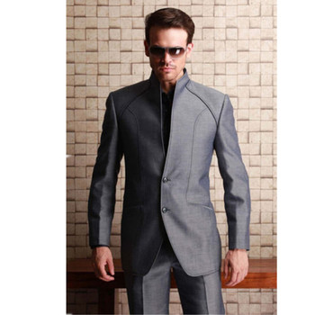 Classic high-quality men's suit gray stand-alone single-breasted groomsman dress and men prom dress (jacket + pants) custom made