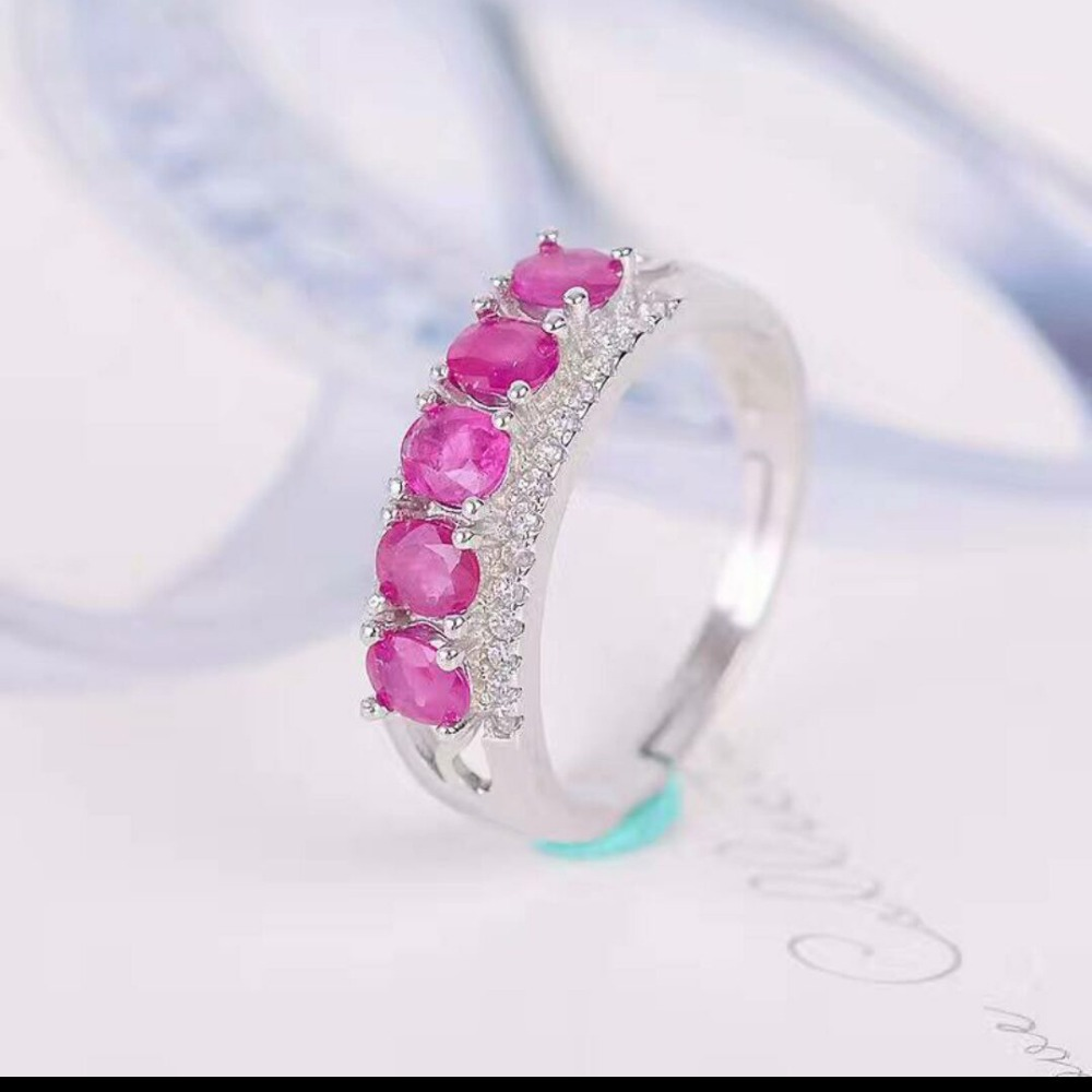 Real ruby ring Free shipping Natural real ruby 925 sterling silver Finger rings faux ruby engraved fret finger ring