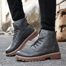 Men Boots Martins 2018 British Style Vintage Classic Genuine Martin Motorcycle Sneakers Leather Shoes