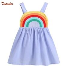 New Baby Girl Dress Cotton Clothes Toddler Kids Princess Tutu Girl Rainbow Sling Dresses Vestido Infantil  Sleeveless Clothing недорого