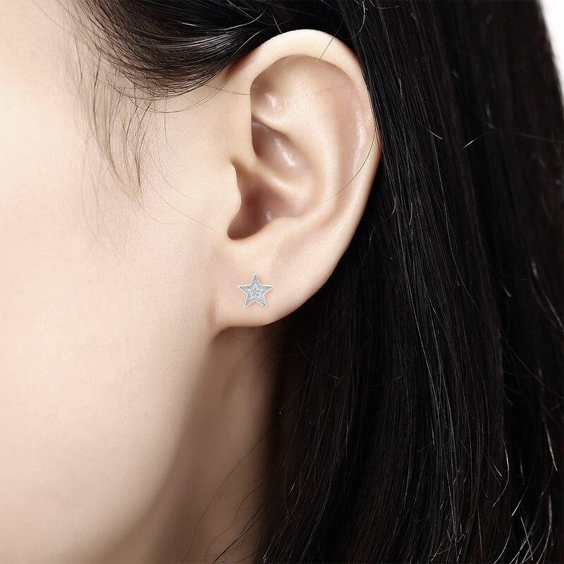 AINUOSHI luxe 925 en argent Sterling boucle d'oreille pour les femmes de mariage Halo étoiles Stud boucle d'oreille bijoux cadeau pendientes plata de ley mujer - 5