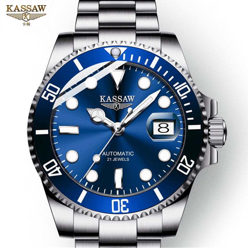 KASSAW luxurious Watch Sport Water Swimming 100m Water Resistant Calendar Sapphire Luminous Automatic Mechanical watches men
