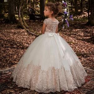 New Flower Girl Dresses Beading Sash Ball Gowns Lace Appliques Floor Length Flower Girls Princess Elegant Wedding Pageant Dresse