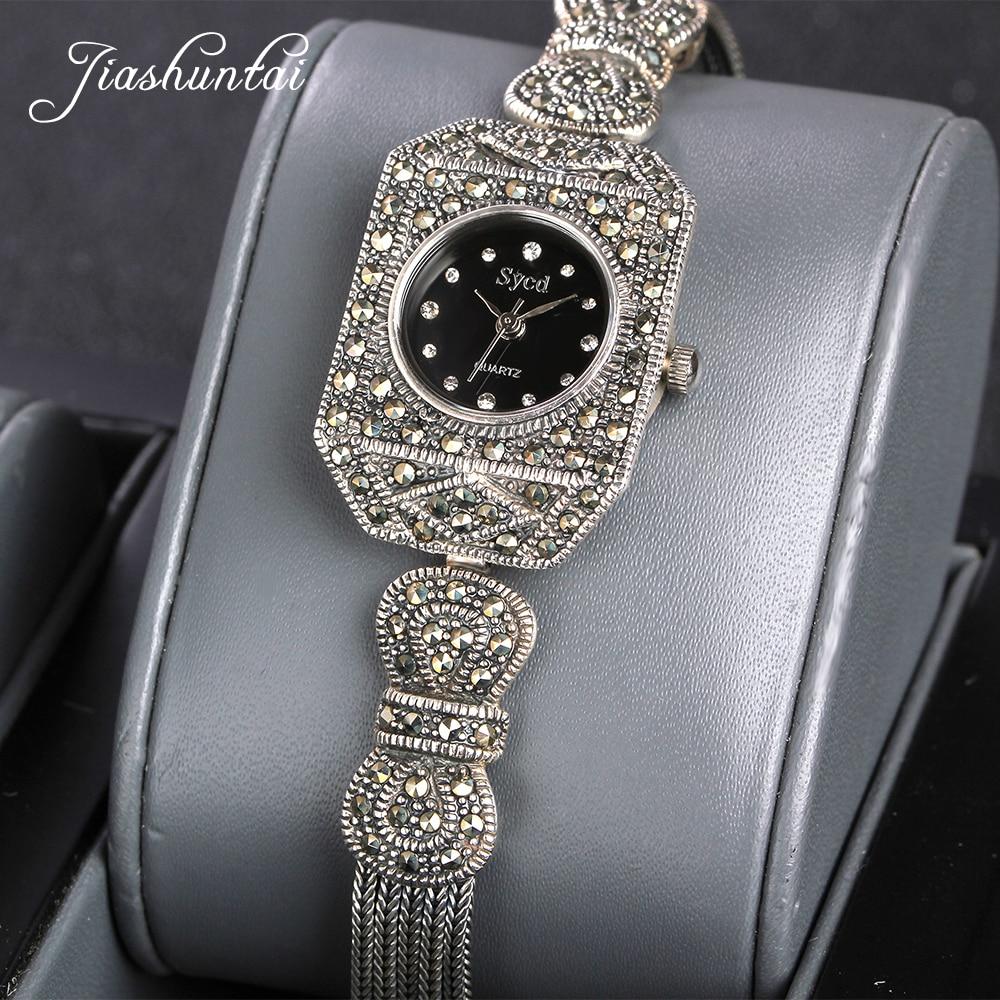 JIASHUNTAI Vintage 100% Silver 925 Watch For Women Retro 925 Sterling Silver Clock Female Bracelets Watch Jewelry