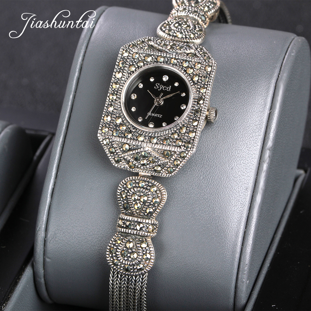 JIASHUNTAI Vintage 100% reloj de plata 925 para mujer Retro 925 reloj de plata de ley para mujer reloj de joyería