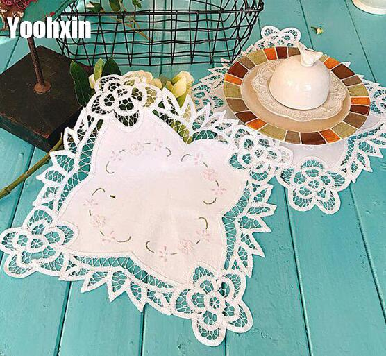 Tablecloths Luxury Lace Embroidery Placemat Table Place Mat Cloth Tea Drink Doily Cup Dish Coffee Coaster Mug Wedding Dining Pan Pad Kitchen Table & Sofa Linens