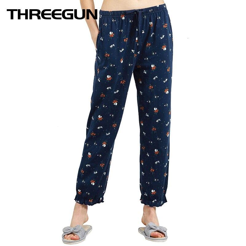 THREEGUN Pajama Pants Women 2019Cotton Sleep Bottoms Breathable Loose Trousers Ruffle For Women Printed Elastic Waist Home Pants