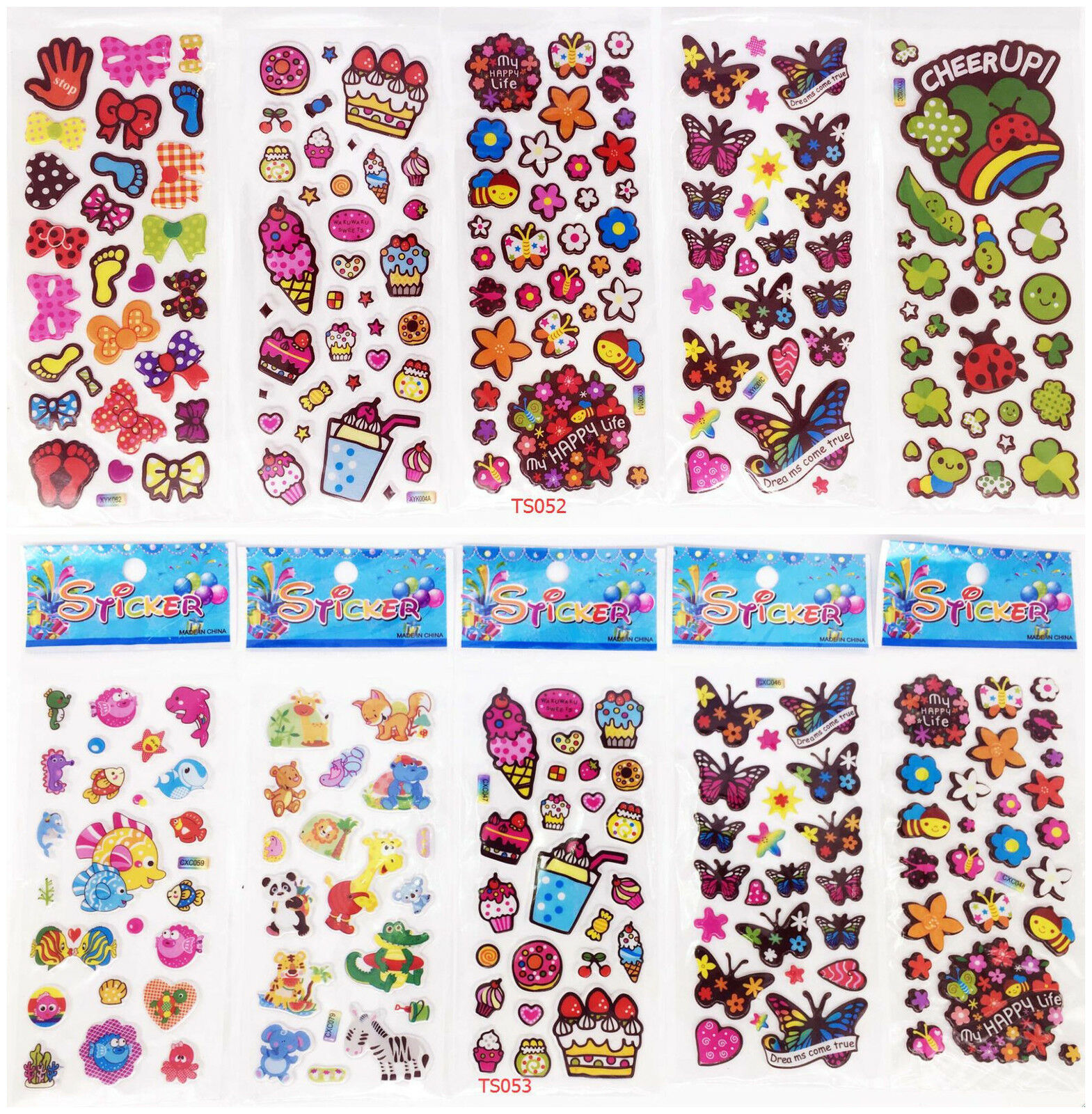 10 Sheets 3D Child Wall Scrapbooking & Paper Kids Crafts Stickers Lot Party Gift Toys Kindergarten Reward Gift