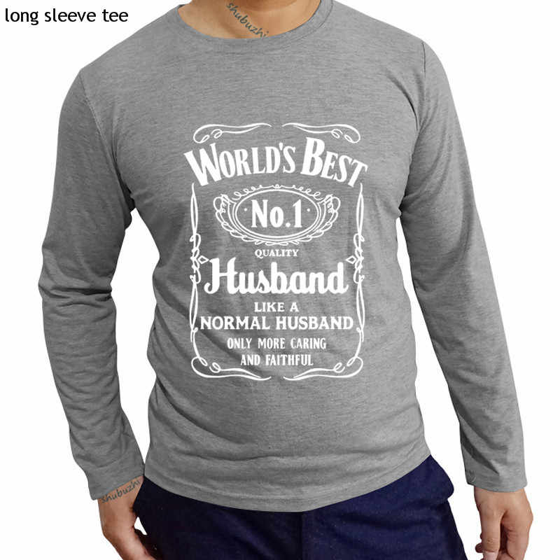 d077a8b82 ... cotton tshirt men long sleeve tops World's Best Husband T-Shirt Funny  Fathers Day Dad ...