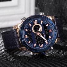 NAVIFORCE Mens waterproof Quartz Watches Military Leather Sport WristWatches Man LED Analog Digital Clock Relogio Masculino 9097