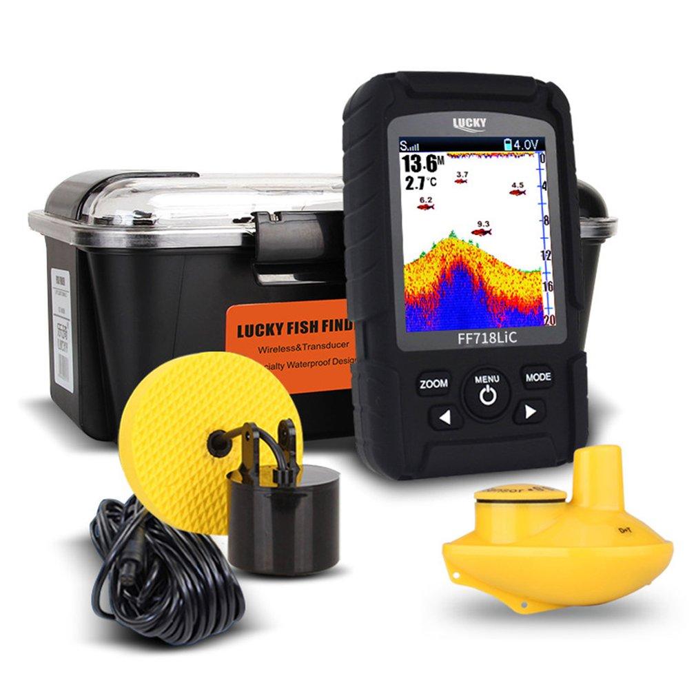 Fortunato Portatile Wireless + Wired Due In Uno Impermeabile Fish Finder Monitor Sonar Wireless Wired Trasduttore FF718LIC Trasporto di Goccia