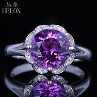 HELON Popularne! akcenty Diament Halo Surround Okrągły cut 9mm Ametyst Pierścionek zaręczynowy Z Litego 14 K White Gold Wedding Kamień Pierścień
