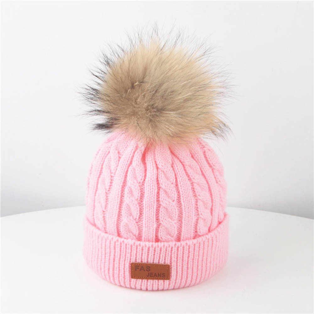 ฤดูหนาวหมวกเด็กหมวกถักหมวก Hairball หมวกผ้าฝ้ายนุ่มสำหรับชายหญิง Pom Poms หมวกเด็กฤดูใบไม้ร่วงฤดูหนาวหมวกเด็ก 2019 ใหม่