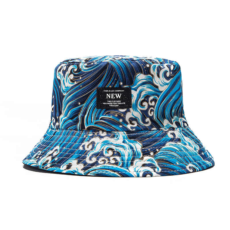 ... Soft Bucket Hat Man Women Outdoor Sports Hip Hop Cap Embroidery Wave  Double Side Summer Cotton ... 448252fbfc4
