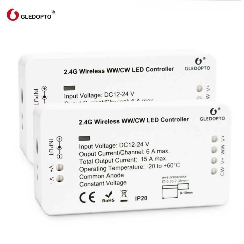 Controlador de tira led GLEDOPTO ZIGBEE Luz de enlace zll WW/CW atenuador rgbw dc12-24v control de aplicación de teléfono inteligente con muchos pasarela