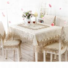 Europe Elegant Lace Floral Jacquard Home Kitchen Party Tablecloth Set Suit Table-cloth Rectangular Round Table Cloth Chair Cover