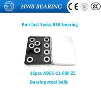 2017 New 16pcs Lot Swiss BSB 608 Zz 8X22X7mm ABEC11 Bearing Steel Balls Skateboard Well Bearing