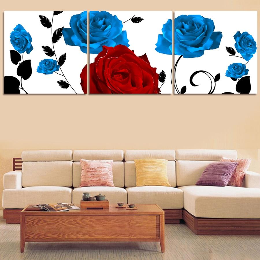 Kein Gerahmte Moderne Helle Blaue Rose Malerei Drucken Bild Für ...