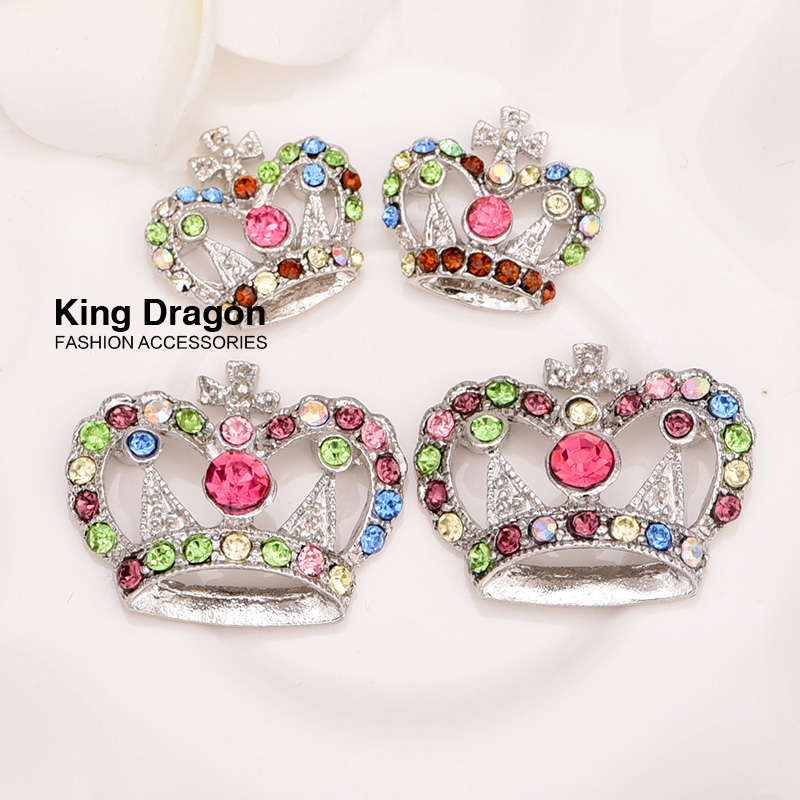 Rhinestone Crown Embellishment Used On Invitatation Card 29MM Mixed Color 50pcs/lot Nickel color