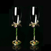 GFHGSD 1 pair Creative Crystal Champagne Flutes Stand Metal with Enamel Creative Style Goblet Glass Wedding Birthday Gifts AC102