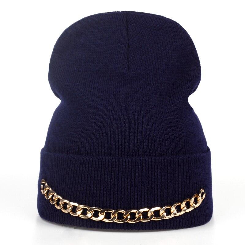 2017 cadena de hierro de la moda las mujeres sombrero de invierno cálido  sombrero hecho punto d0e5a4b88d0