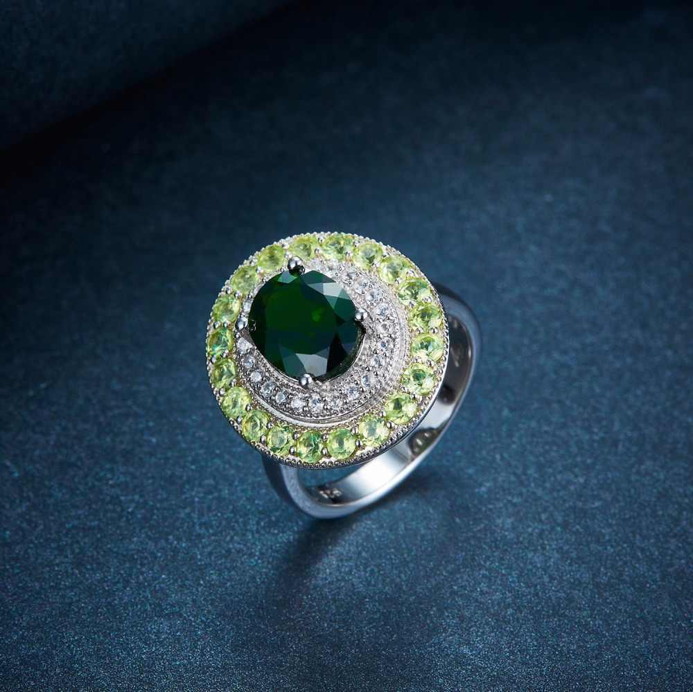 HUTANG 4.406ct ธรรมชาติ Chrome Diopside Peridot 925 เงินสเตอร์ลิงแหวนเพชรพลอยเครื่องประดับคริสต์มาสของขวัญ