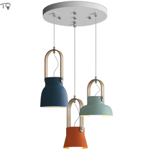 цены на Single Head Makalong Colorful Nordic Wood Ring Pendant Lights Coffee Bar Restaurant Simple Modern Creative Art Led Hanging Lamp  в интернет-магазинах