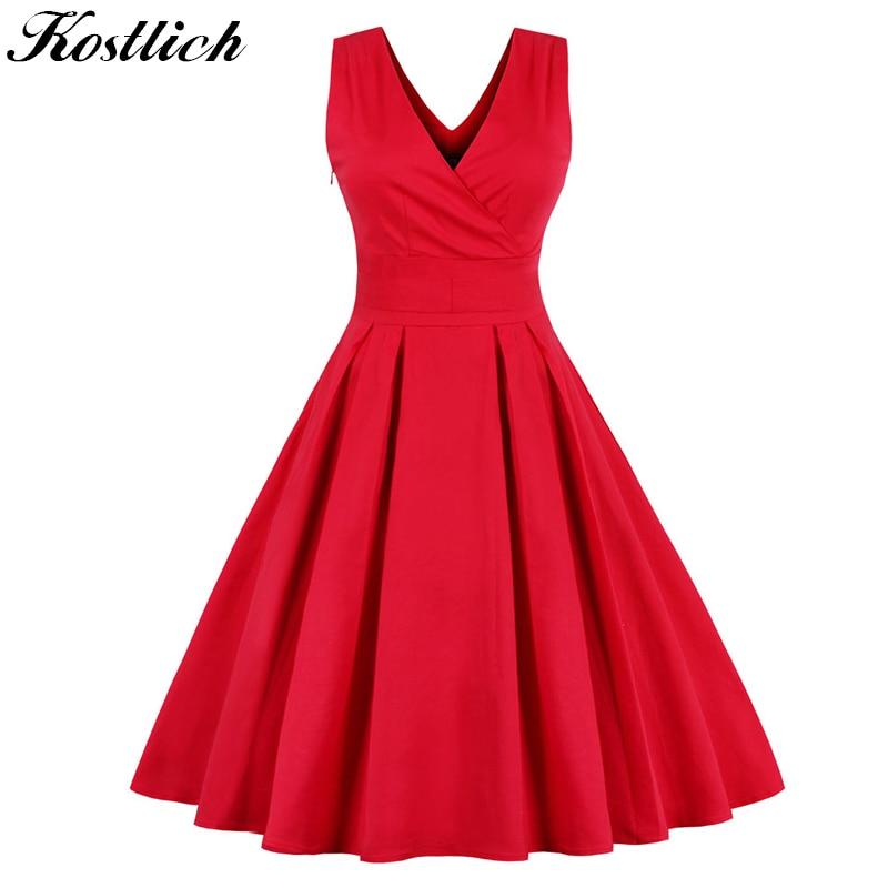 Kostlich Elegant Women Summer Dress 2018 Sleeveless Swing 1950s Vintage  Tunic Dress V-Neck Sexy c738e84fcda7