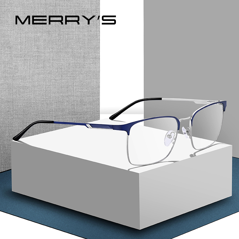 MERRYS DESIGN Men Titanium Alloy Glasses Frame Male Square Ultralight Eye Myopia Prescription Eyeglasses S2032