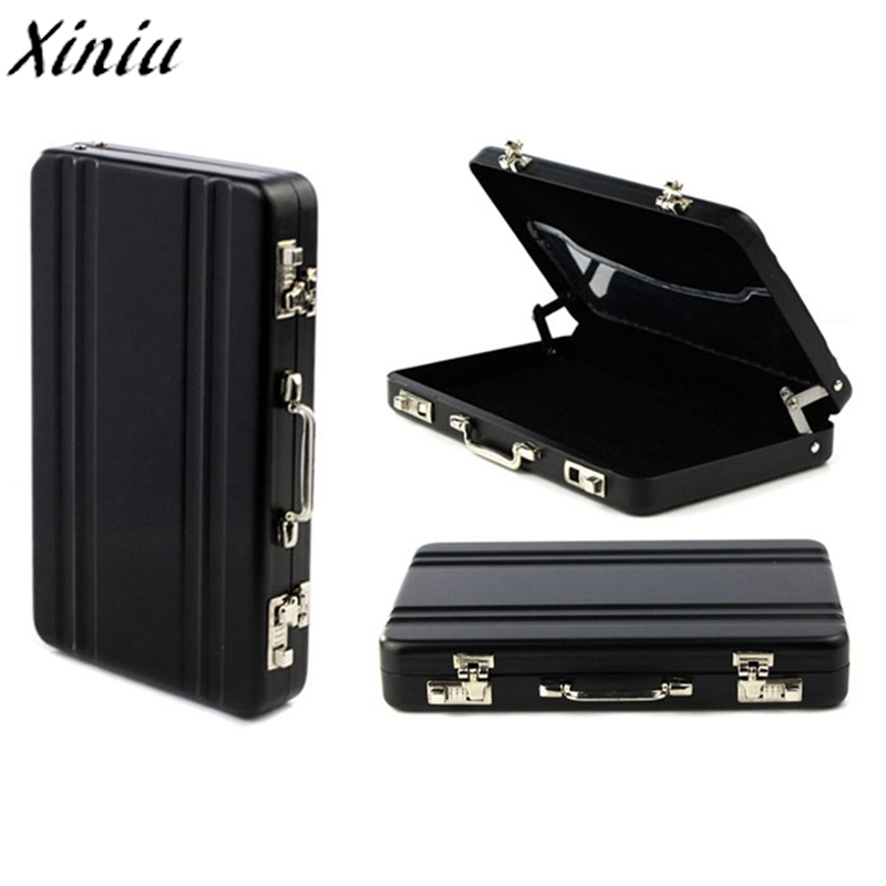 Credit Card Holder Solid Color Metal Mini Suitcase Business Card Bank Vintage Name Card Case Box Porte Carte Bancaire #9214 mini code case style name card holder box silver