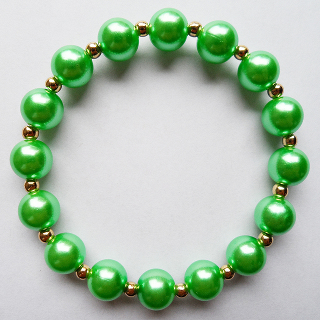 Fashion New Type Friendship Bracelets Elastic Rubber Bands Green Beads Bracelet With Spring