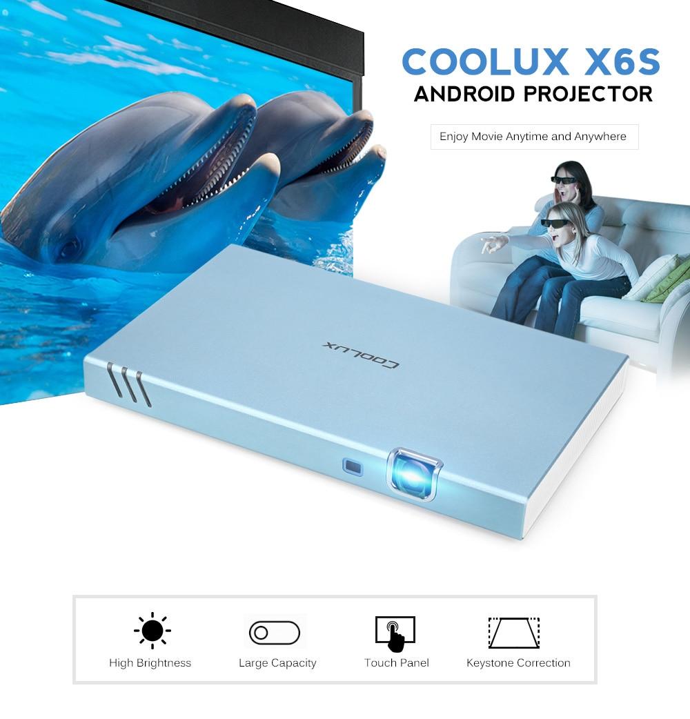 COOLUX X6S Android 4.4 Mini Projector LED Bluetooth 4.0 Portable 280 ANSI 1280x720P 3D 4K WIFI Portable DLP Projector холодный тв coolux dlp link активным затвором 3d очки прохладно тв проектор генеральный