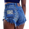 2016 Women's Fashion Brand Vintage Tassel Rivet Ripped Loose High Waisted Short Jeans Punk Sexy Hot Woman Denim Shorts