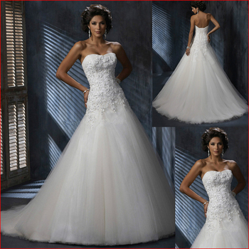Hot Sale Cheap mermaid wedding dress 2016 Strapless Tulle Sweetheart applique Lace wedding gowns sequins beach vestido de noiva