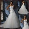 Venta caliente Barato de la sirena vestido de boda 2016 Sin Tirantes de Tulle Del applique Del Amor vestidos de novia de Encaje lentejuelas playa vestido de noiva