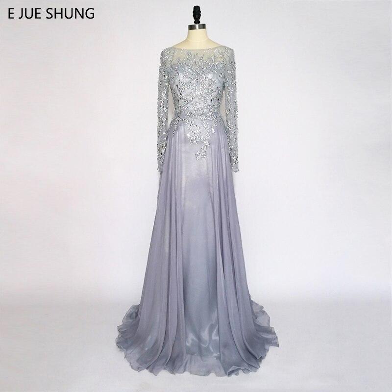 E JUE SHUNG Hall Chiffon kristallid Backless luksusõhtukleidid pikad 2018 pikkade varrukatega ametlikud kleidid robe de soiree
