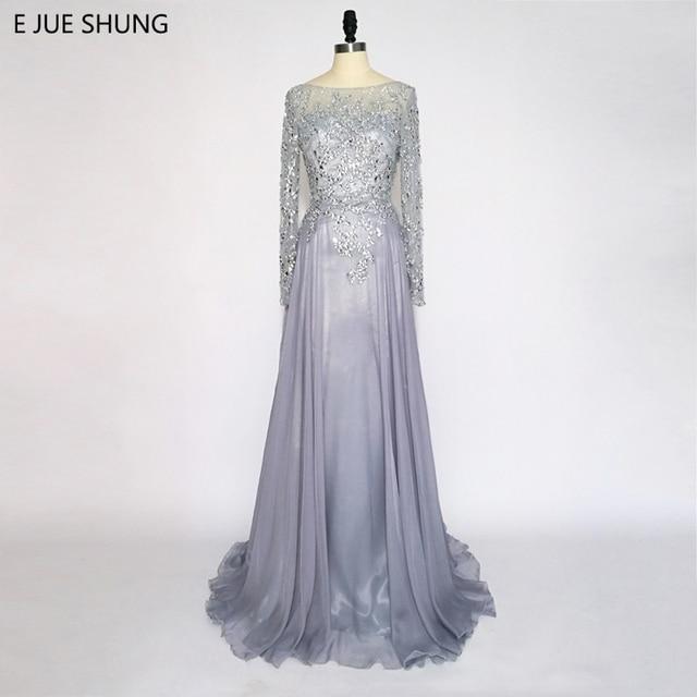 ad74e9c6db2ac E JUE SHUNG Gri Şifon Kristaller Backless Lüks Abiye Uzun 2018 Uzun Kollu  Formal elbise robe