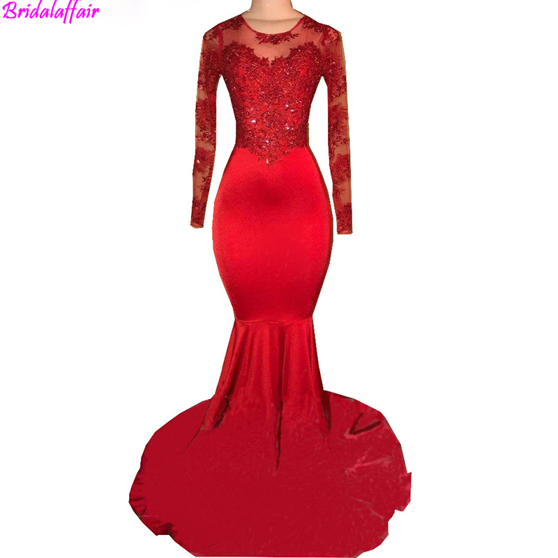 2019 Vintage Sheer Long Sleeves Red   Prom     Dresses   Mermaid Appliqued African Formal   Dress   Women Elegan Black Girls Evening Gowns