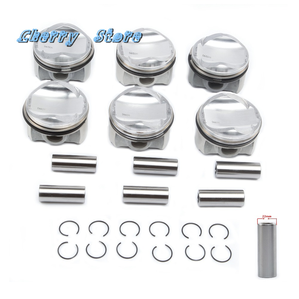 NEW 06E 107 065 DM 84.51mm 6 Cylinder Engine Piston & Ring Kit For Audi A4 A5 A6 A7 A8 Q5 Q7 VW Touareg 3.0T Pin 22mm 06E198151Q цена