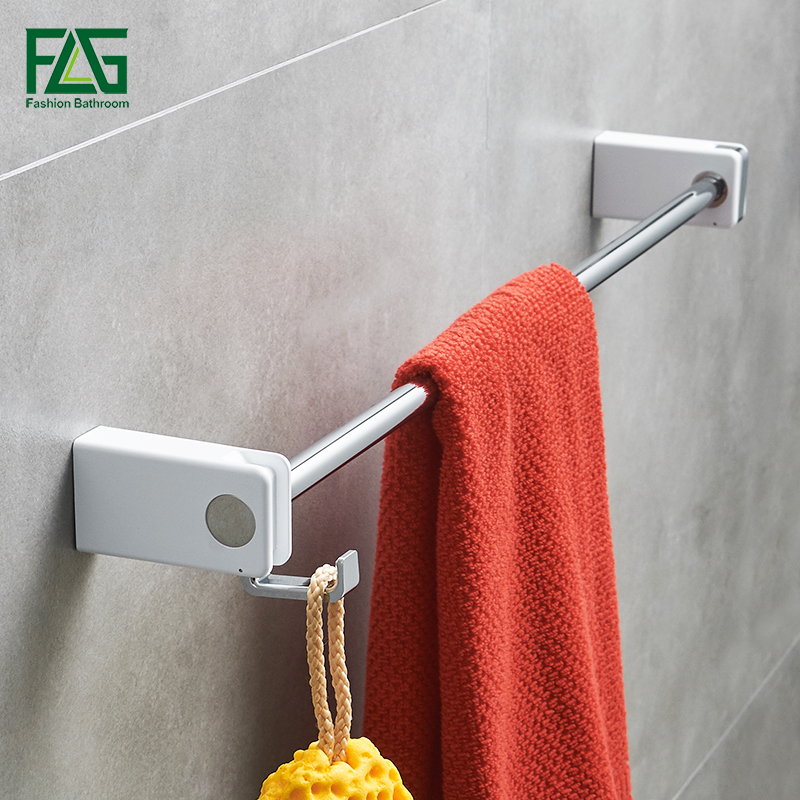 Towel Bars Wall mounted Single Towel Bar Holder with white ABS Towel Rack Bar Stainless Steel Bath Bathroom Accessories towel rack stainless steel holder bath shelf towel hanger wall mounted bathroom accessories towel bars