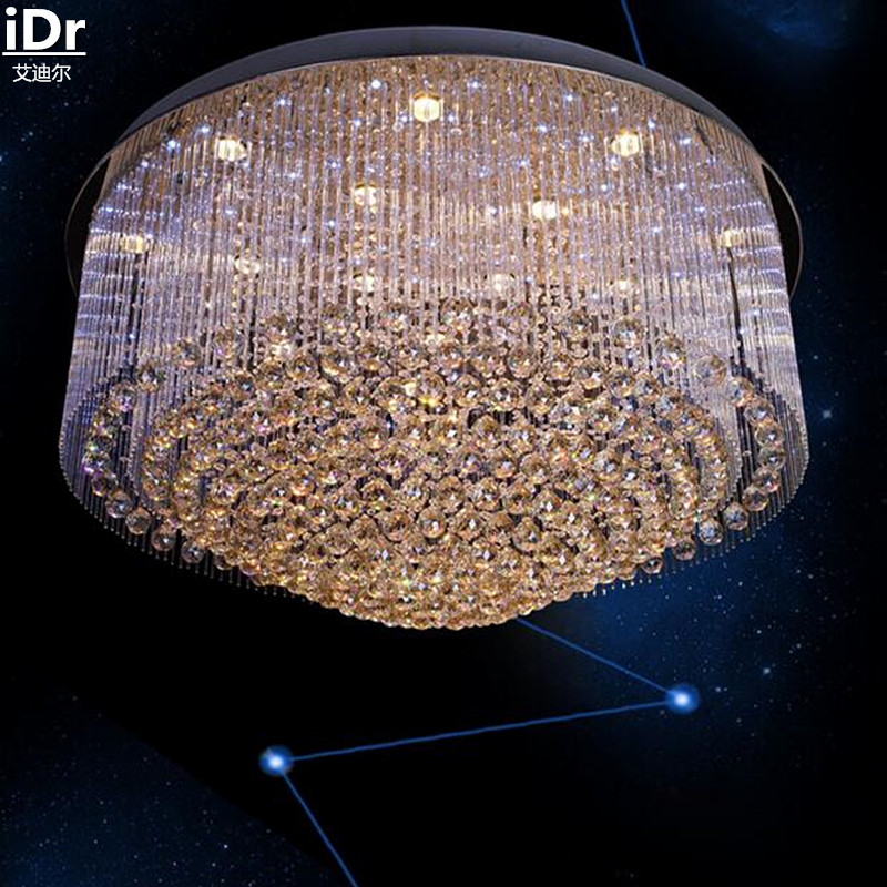 Circular light engineering factory direct low pressure crystal lamp lighting the clear light glass rod Ceiling