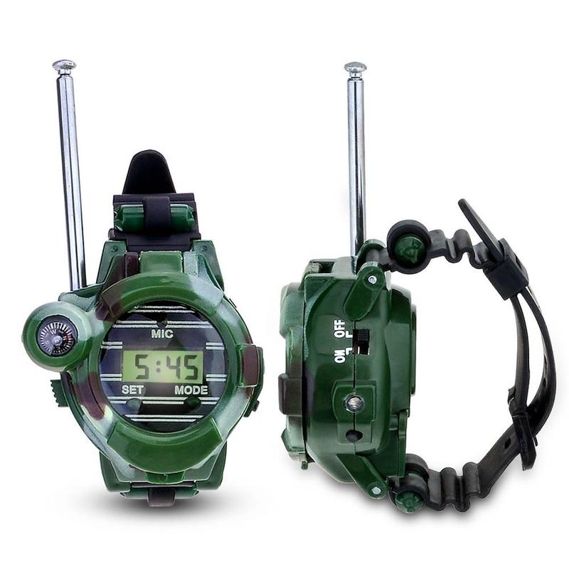 2Pcs 7in1 Watch Walkie Talkie 150M Range Interphone Magnifying Lens / Speculum / Light / Compass Kids Interactive Toys imc toys avengers assemble iron man walkie talkie 390089