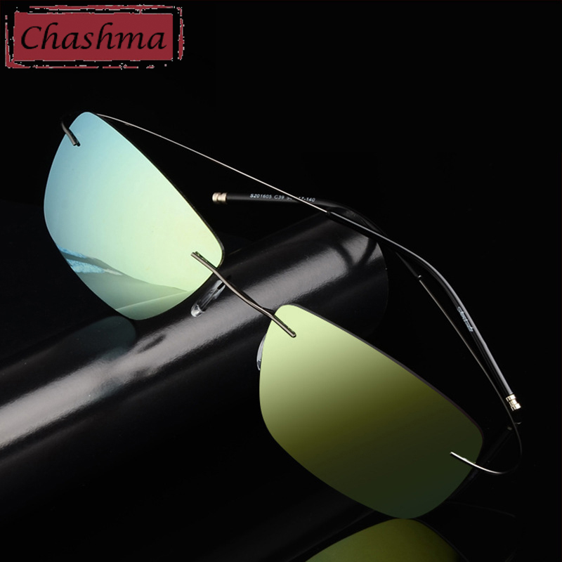 Stainless Steen Prescription Sunglasses Polarized Men Mirror Coating UV 400 Lens Anti Glare Rimless Glasses Women