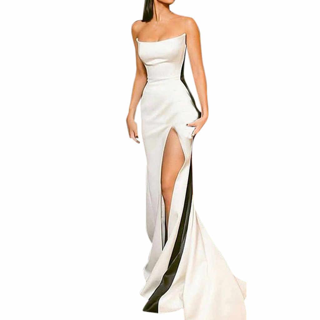 Nữ Gợi Cảm Không Tay Ống Top Đầm Xẻ Gợi Cảm Nữ Mùa Hè Đời Boho Lệch Vai Chia Dài Sang Đảng Bãi Biển dressA30530