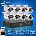 Anran plug & play kit de video vigilancia 8ch poe onvif 1080 p hd ir seguridad impermeable al aire libre cámara ip poe sistema de alarma emali