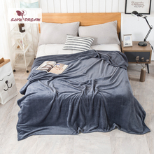Slowdream Fashion Dark Gray Flannel Blanket Summer Sheet bed cover Sofa Throw Queen King Size Coral Fleece Blankets 1PCS