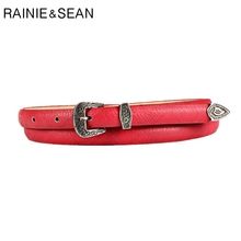 RAINIE SEAN Women Leather Waist Belt For Trousers Thin Vintage Red Casual Female Belts Jeans